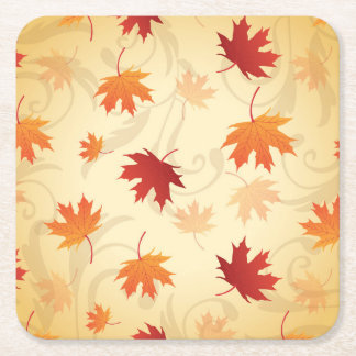 Autumn Leaves Pattern Square Paper Coaster