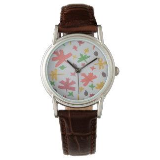 Autumn Leaves Pattern Wrist Watch