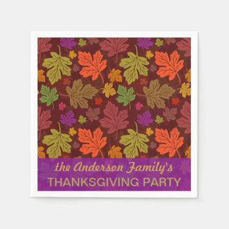 Autumn Leaves Personalized Fall Thanksgiving Party Paper Napkin