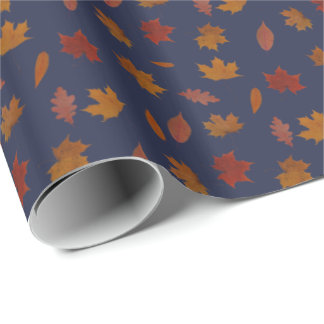 Autumn Leaves Photographic on Blue Custom Color Wrapping Paper