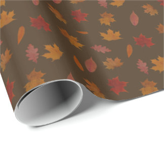 Autumn Leaves Photographic on Brown Custom Color Wrapping Paper