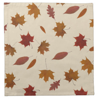 Autumn Leaves Photographic on Cream Custom Color Napkin