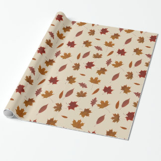 Autumn Leaves Photographic on Cream Custom Color Wrapping Paper