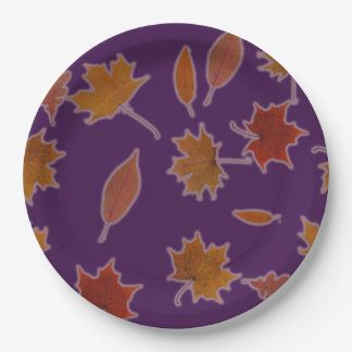 Autumn Leaves Photographic on Custom Color Paper Plate