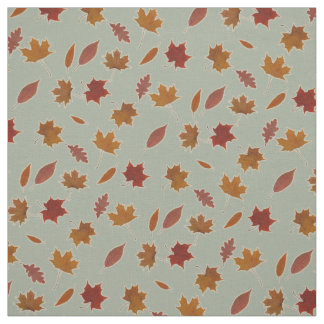 Autumn Leaves Photographic on Grey Custom Color Fabric
