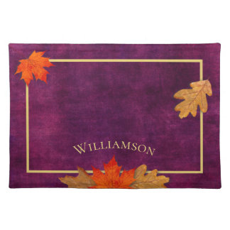 Autumn Leaves Plum Personalized Placemat