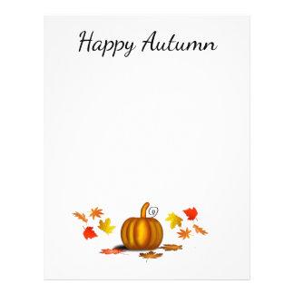 Autumn Leaves & Pumpkin Stationery Custom Letterhead