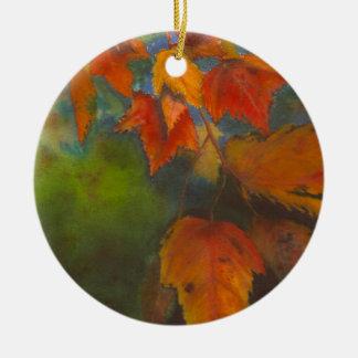 Autumn Leaves Round Ceramic Ornament