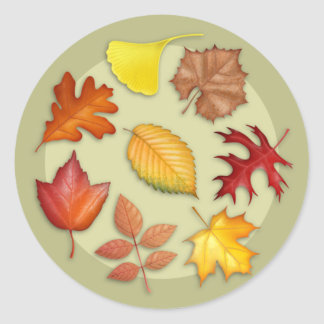 Autumn Leaves Round Sticker