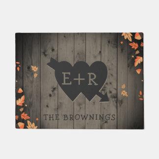 Autumn Leaves Rustic Wood Romantic Hearts Initials Doormat