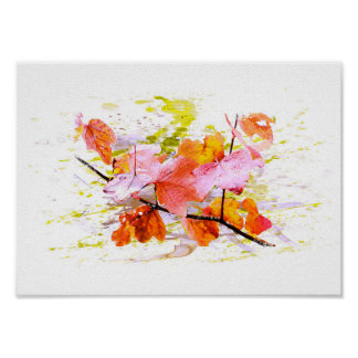 Autumn, leaves, sheets, colored. Water color Poster