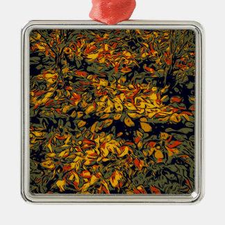 Autumn leaves Silver-Colored square ornament