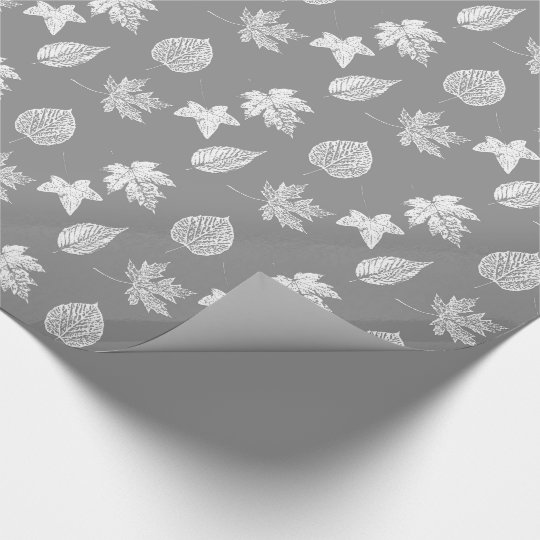 Autumn leaves - silver grey and white wrapping paper