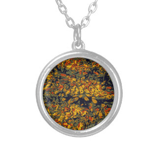 Autumn leaves silver plated necklace