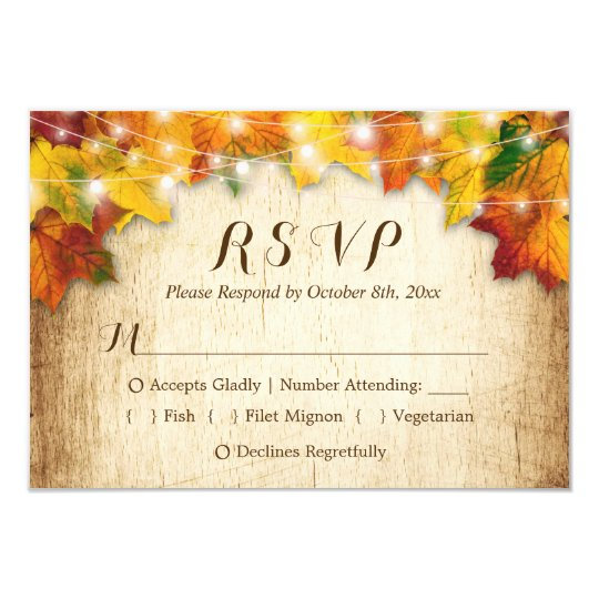 Autumn Leaves String Lights Fall Wedding RSVP Card