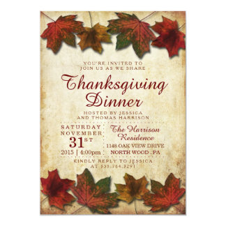 Autumn Leaves Thanksgiving Dinner Card