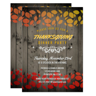 Autumn Leaves Thanksgiving Dinner Rustic Barnwood Card