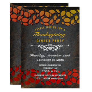 Autumn Leaves Thanksgiving Dinner Rustic Leather Card