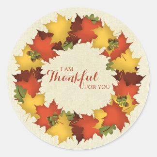 Autumn Leaves Thanksgiving Wreath Classic Round Sticker