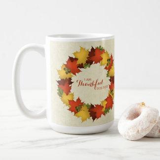 Autumn Leaves Thanksgiving Wreath Coffee Mug
