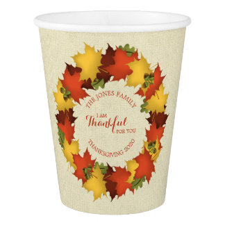 Autumn Leaves Thanksgiving Wreath Paper Cup
