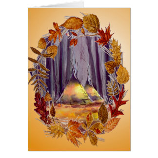 AUTUMN LEAVES & TIPIS by SHARON SHARPE Card