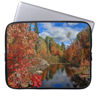 Autumn Leaves Trees and Clouds Laptop Sleeve
