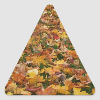 Autumn Leaves Triangle Sticker