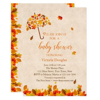 Autumn Leaves Umbrella Baby Shower Invitation