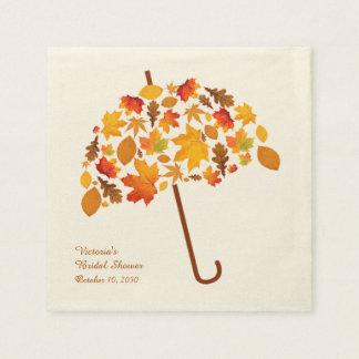 Autumn Leaves Umbrella Paper Napkins
