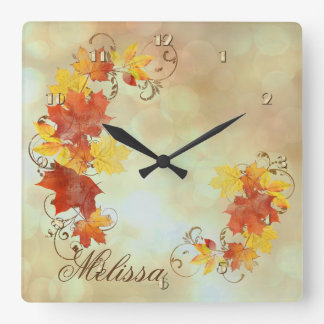 Autumn Leaves Watercolor ALWX Square Wall Clock