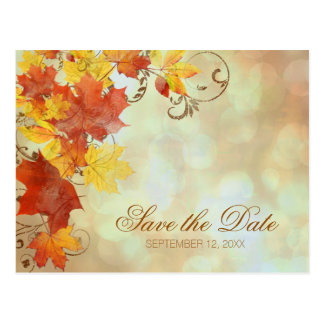Autumn Leaves Watercolor AWLa Postcard