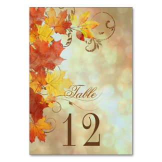 Autumn Leaves Watercolor AWLa Table Card