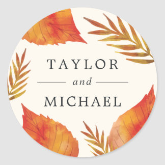 Autumn Leaves Wedding Classic Round Sticker