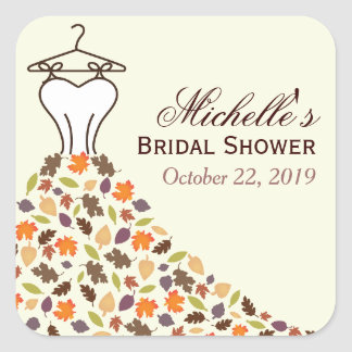 Autumn Leaves Wedding Dress Bridal Shower Favor Square Sticker
