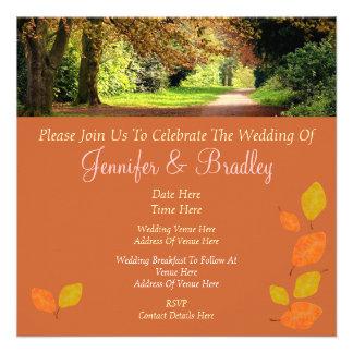 Autumn Leaves Wedding Custom Invitation