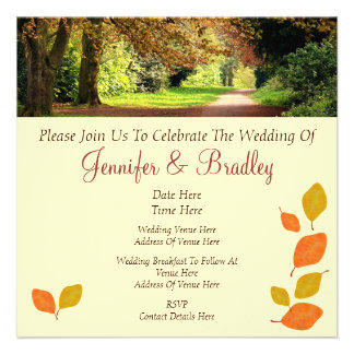 Autumn Leaves Wedding Personalized Announcements