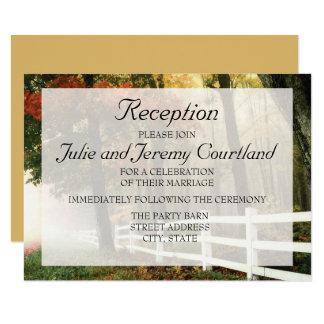 "Autumn Leaves White Picket Fence Wedding Reception 3.5"" X 5"" Invitation Card"