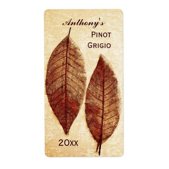 autumn leaves wine bottle label