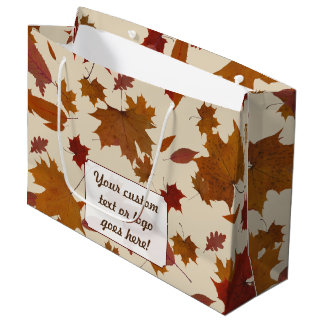 Autumn Leaves with Custom Color and Text Label Large Gift Bag