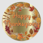 AUTUMN LEAVES WREATH by SHARON SHARPE Round Stickers