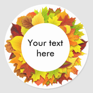 Autumn leaves wreath classic round sticker