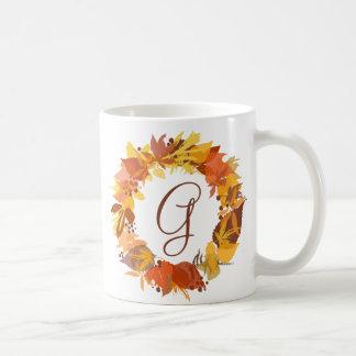 Autumn Leaves Wreath Personalized Monogram Mug