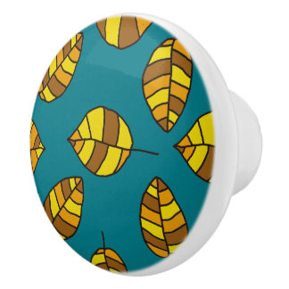 Autumn Leaves Yellow Leaf Pattern on any Color Ceramic Knob