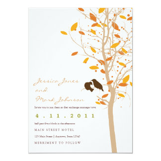 Autumn Love Birds in Tree with Fall Leaves Card
