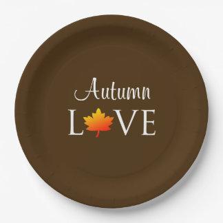 Autumn Love Rustic Fall Wedding Orange Leaf Paper Plate