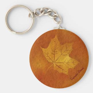 Autumn Maple Leaf in Gold Basic Round Button Keychain