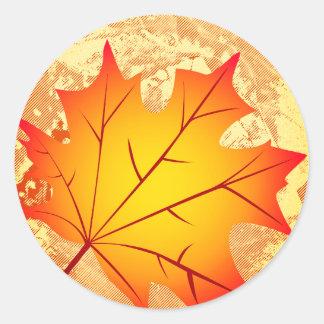 Autumn Maple Leaf round stickers craft supplies
