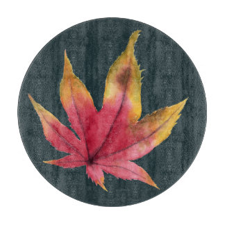 Autumn Maple Leaf Watercolor Painting Cutting Board