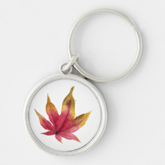 Autumn Maple Leaf Watercolor Painting Keychain